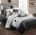 14 Piece Cal King Lourdes Ivory and Gray Bed in a Bag w/600TC Cotton Sheet Set