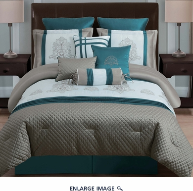 14 Piece King Avalon Taupe/Teal/Ivory Bed in a Bag Set