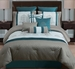 14 Piece King Avalon Taupe/Teal/Ivory Bed in a Bag w/600TC Cotton Sheet Set