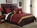 14 Piece King Lambert Burgundy and Gold Bed in a Bag w/500TC Cotton Sheet Set
