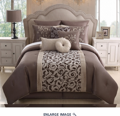 14 Piece Queen Amber Taupe Bed in a Bag w/600TC Cotton Sheet Set