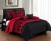 14 Piece Queen Baccina Black and Red Bed in a Bag w/600TC Cotton Sheet Set