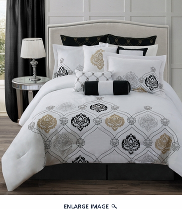 14 Piece Queen Claibourne Black/White Bed in a Bag Set