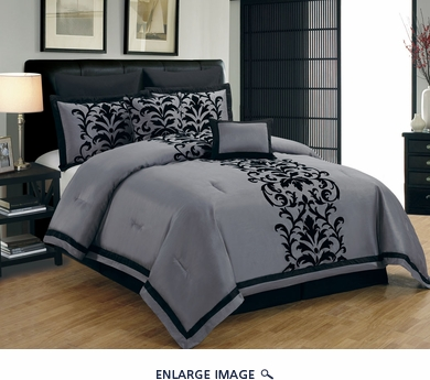 12 Piece Queen Dawson Black and Gray Bed in a Bag w/600TC Cotton Sheet Set