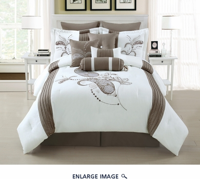 14 Piece Queen Diore Taupe/White Bed in a Bag w/600TC Cotton Sheet Set