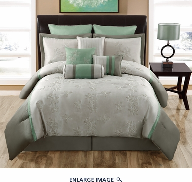 14 Piece Queen Milena Taupe and Sage Bed in a Bag Set