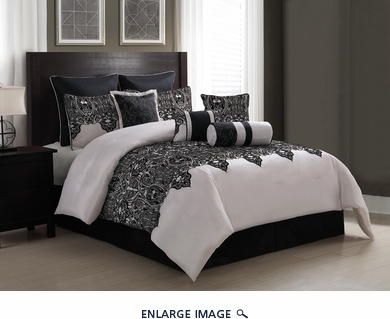 14 Piece Queen Mischa Black and Ivory Bed in a Bag w/600TC Cotton Sheet Set