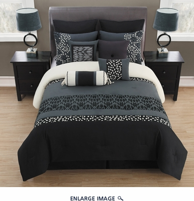 14 Piece Queen Veeda Black and Gray Bed in a Bag Set