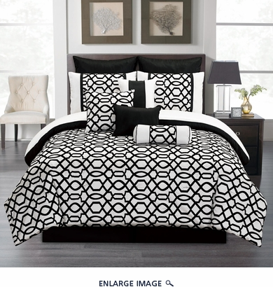 14 Piece Queen Venturi Black and White Bed in a Bag w/600TC Cotton Sheet Set