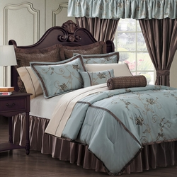 24 Piece Amaryllis Blue Comforter w/Sheets/Curtain Bedromm Ensemble Set