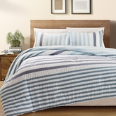 3-Piece Blue Koro 100% Cotton Seersucker Comforter Set Queen