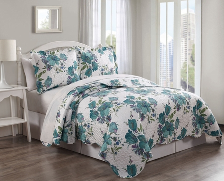 3 Piece Cozumel Teal/Ivory Quilt Set