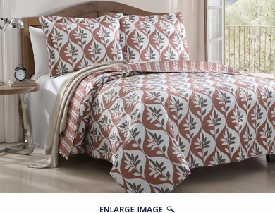 3 Piece King Alani Leaf Quilt Set