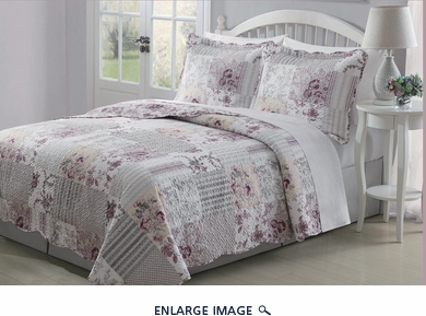 3 Piece King Audrey Pale Rose Quilt Set
