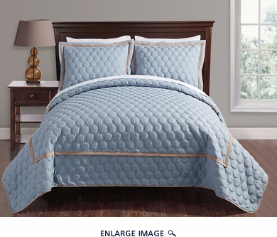 3 Piece King Brighton Embossed Spa Blue Coverlet Set