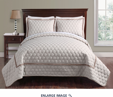 3 Piece King Brighton Embossed Taupe Coverlet Set