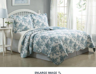 3 Piece King Floral Cloud Quilt Set