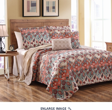 5 Piece King Kashimir Floral Quilt Set