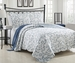 3 Piece King Loral Blue Scroll Quilt Set