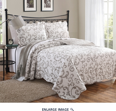 3 Piece King Loreal Taupe Scroll Quilt Set