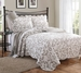 3 Piece King Loral Taupe Scroll Quilt Set