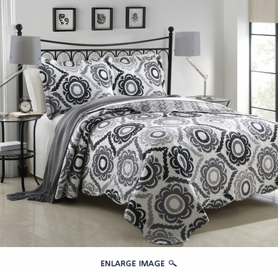 3 Piece King Mayanni Gray Sunflower Quilt Set