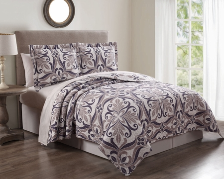 3 Piece Patina Violet/Taupe Quilt Set
