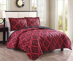 3 Piece Queen Adelene Red/Black Quilt Set