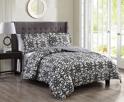 3 Piece Queen Amaris Ivory/Black Quilt Set