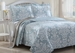 3 Piece Queen Danneli Blue Quilt Set