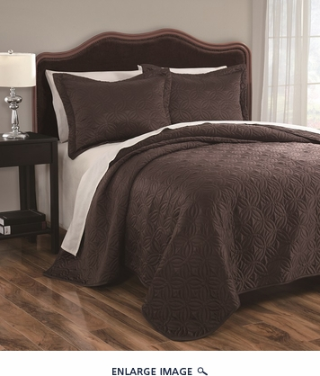 3 Piece Queen Disc Chocolate Coverlet Set