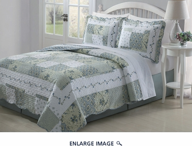 3 Piece Queen Joyce Blue and Sage Quilt Set