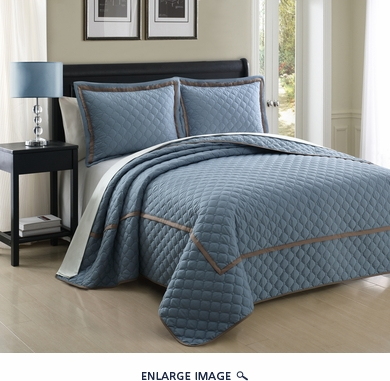 3 Piece Queen Lexington Spa Blue Coverlet Set