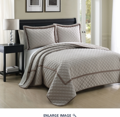 3 Piece Queen Lexington Taupe Coverlet Set