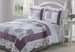 3 Piece Queen Lily Purple Quilt Set