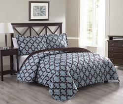 3 Piece Queen Mandel Spa/Chocolate Quilt Set