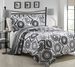 3 Piece Queen Mayanni Gray Sunflower Quilt Set