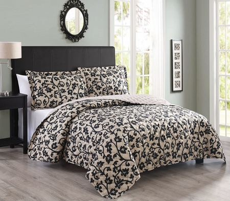3 Piece Nadeen Taupe/Black Quilt Set