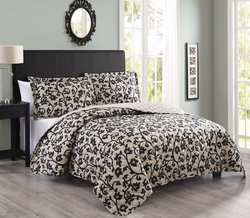 3 Piece Queen Nadeen Taupe/Black Quilt Set