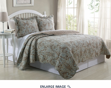 3 Piece Queen Paisley Taupe/Brown Quilt Set