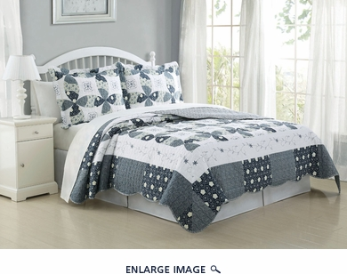 3 Piece Queen Regina Wedding Ring Quilt Set