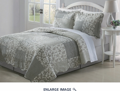 3 Piece Queen Rosemary Taupe Quilt Set