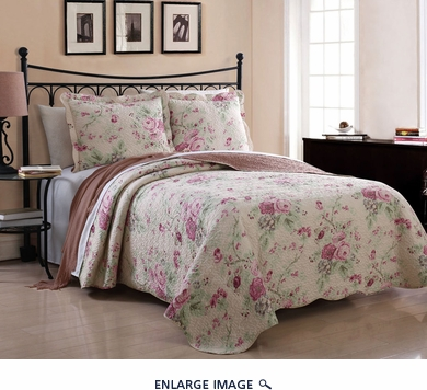 3 Piece Queen Sadie Rose Quilt Set