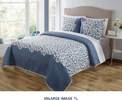 3 Piece Queen Sundance Blue Quilt Set