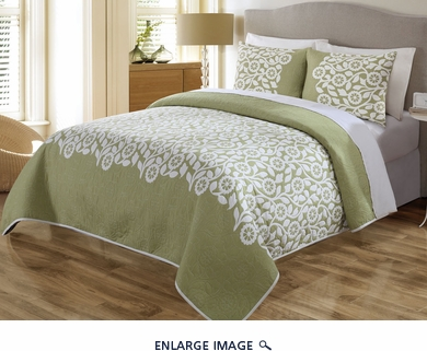 3 Piece Queen Sundance Sage Quilt Set
