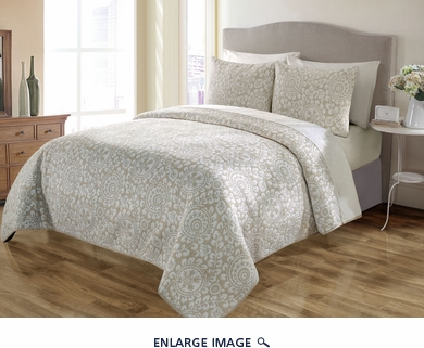 3 Piece Queen Sundance Taupe Quilt Set