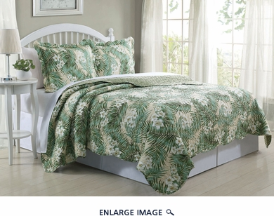 3 Piece Queen Tropical Leaf Quilt Set