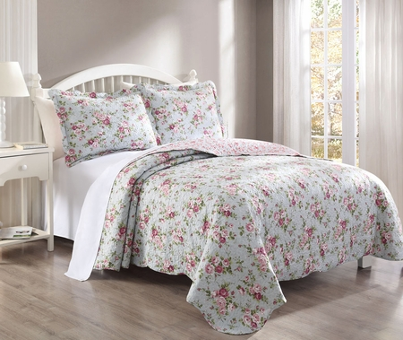 3 Piece Rosella Pink/Grayblue Quilt Set