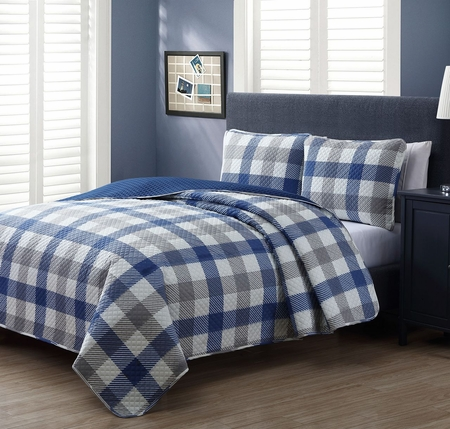 3 Piece Sawyer Blue/White Quilt Set