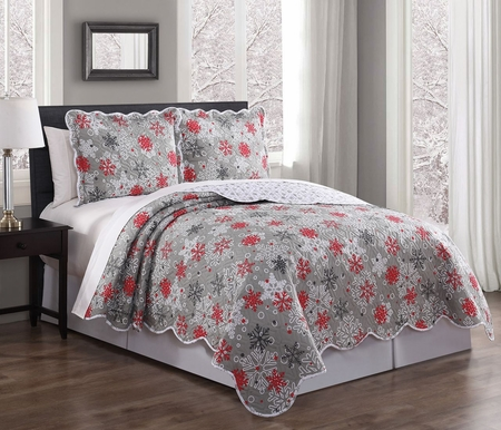 3 Piece Snowflake Red/Gray/White Quilt Set
